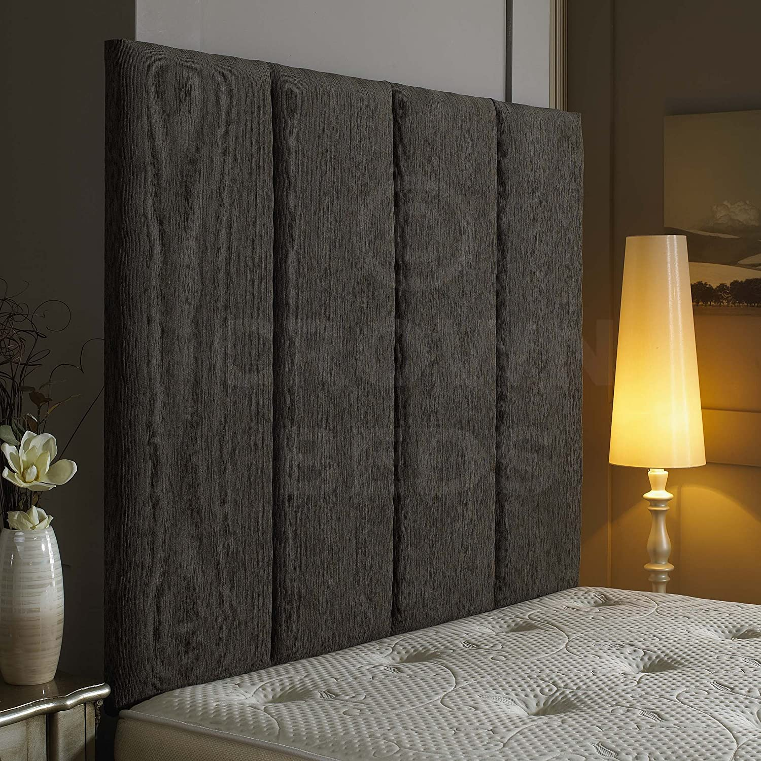Grey 4ft6 (double) 44'' CROWNBEDSUK  EXCELLENT ALTON WALL HEADBOARD IN 2ft6,3ft,4ft,4ft6,5ft,6ft AND HEIGHT OPTIONS  (Grey, 4ft6 (double) 44'')