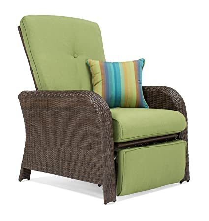 La Z Boy Outdoor Sawyer Resin Wicker Patio Furniture Recliner Cilantro Green With All Weather Sunbrella Cushions