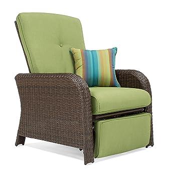 La Z Boy Outdoor Sawyer Resin Wicker Patio Furniture Recliner (Cilantro  Green)