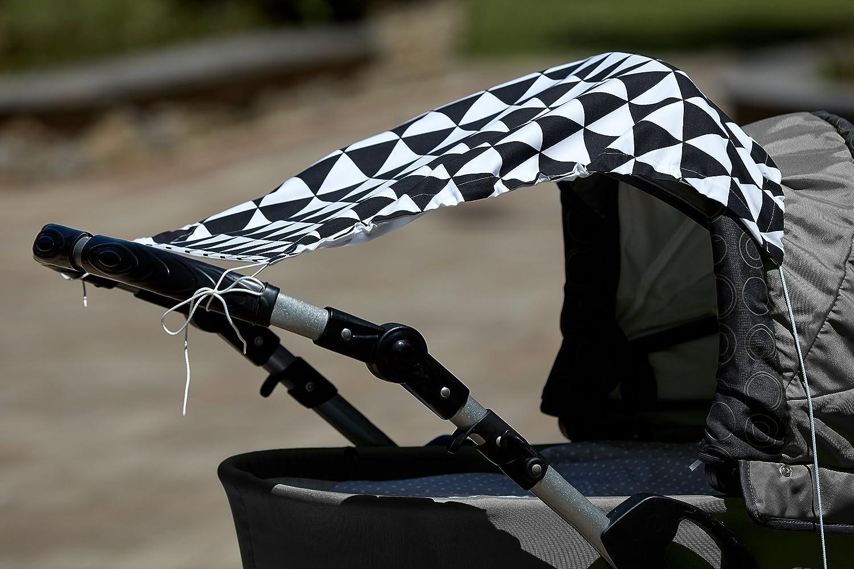 Breite oben: 50 cm Breite unten: 32 cm KraftKids Sonnensegel schwarze Dreiecke UV-Sonnenschutz f/ür jeden Kinderwagen handgen/äht und luftdurchl/ässig L/änge: 65 cm