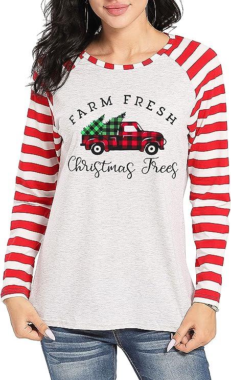 Merry Christmas Red Buffalo Plaid V Neck Farm Fresh Vintage Buffalo Plaid Truck Raglan Unisex Holiday Graphic Shirt Christmas Tree Shirt