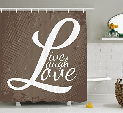 Ambesonne Live Laugh Love Shower Curtain Words On Halftone Worn Out Style