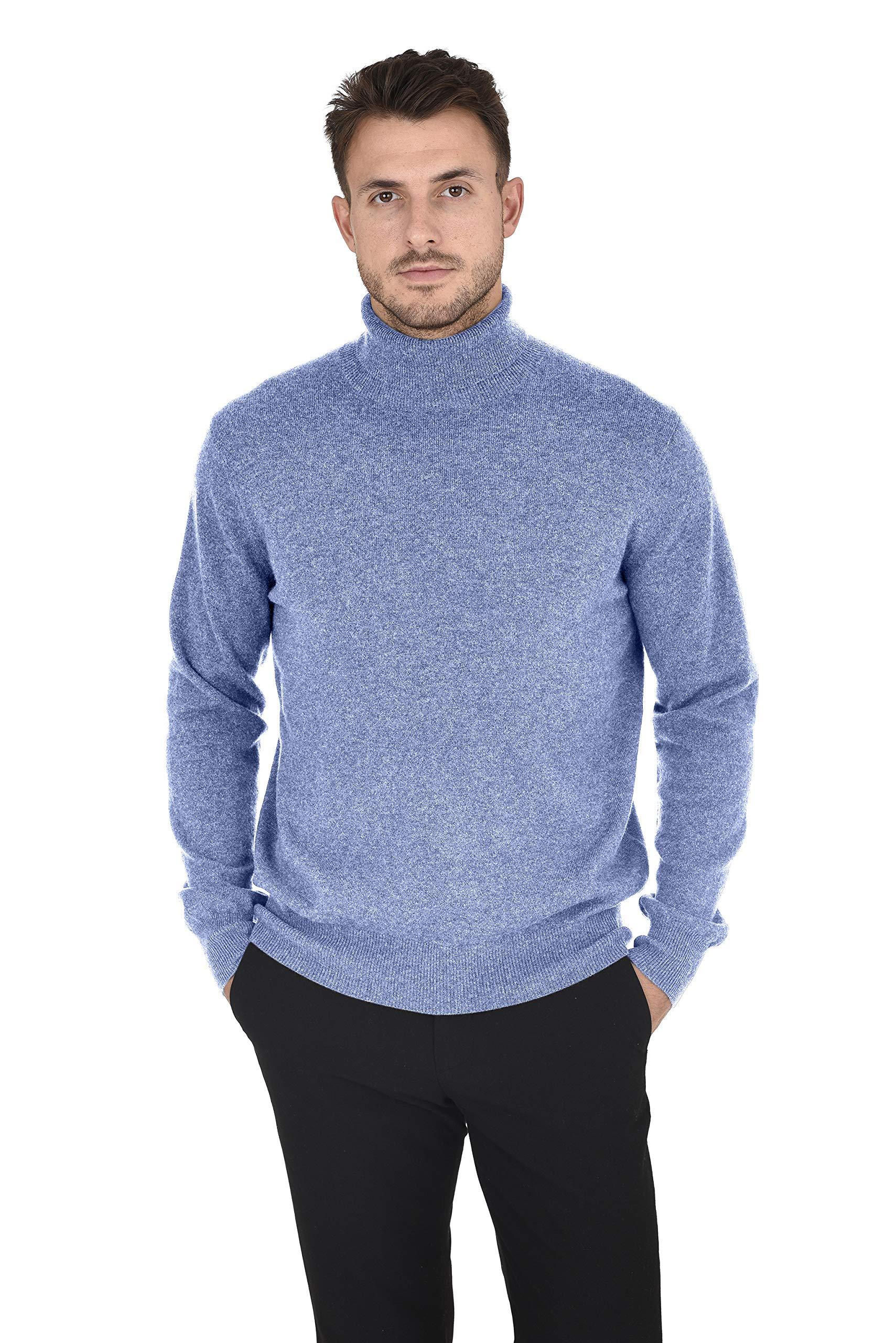 Cashmeren Men's Wool Cashmere Classic Knit Soft Long Sleeve Turtleneck Pullover Sweater (Angel Blue, X-Large)