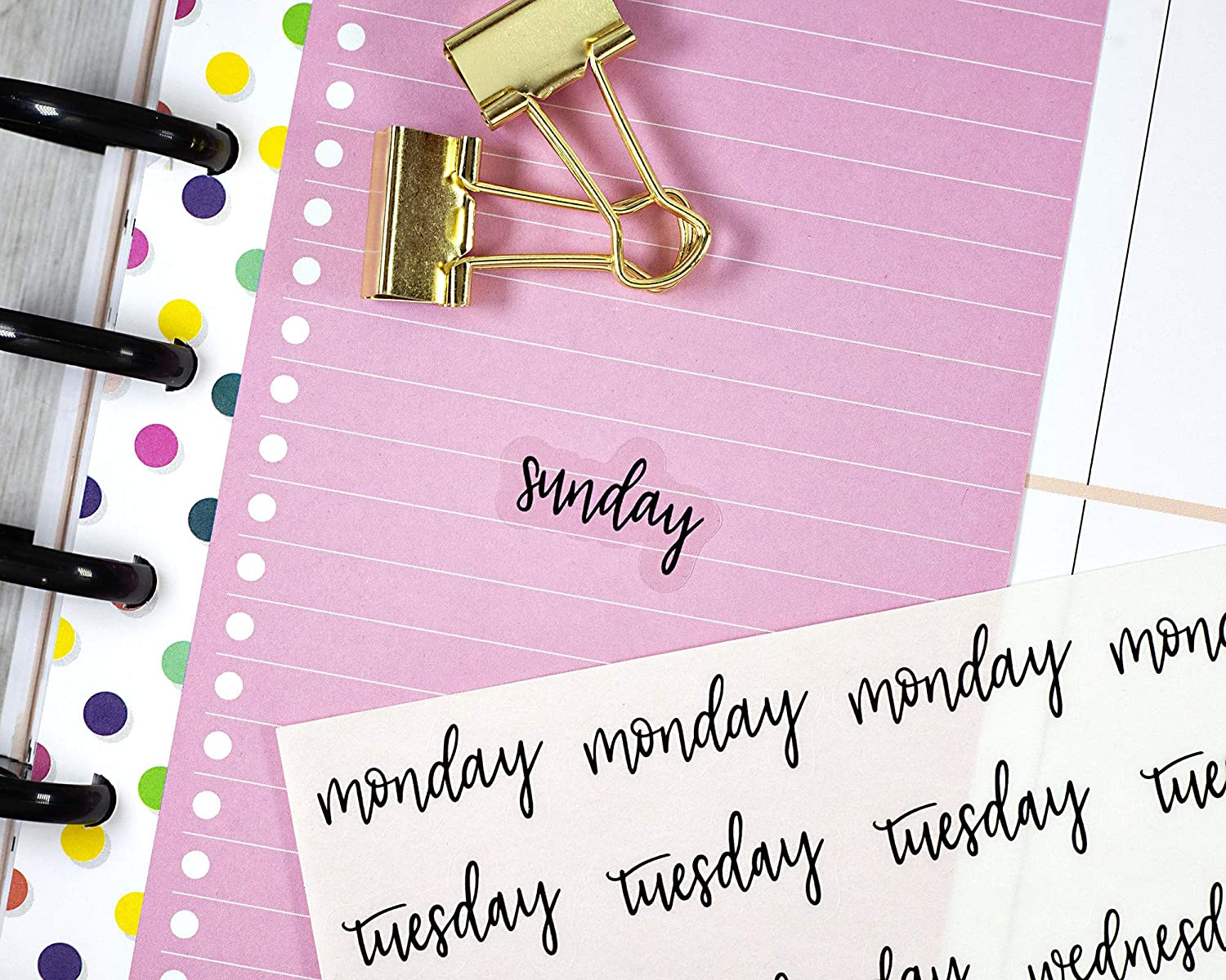 CLEAR Day of the Week Header Planner Stickers, ECLP Planner Stickers, Black on Clear Weekday Stickers, F7 (#904-012-001-C)