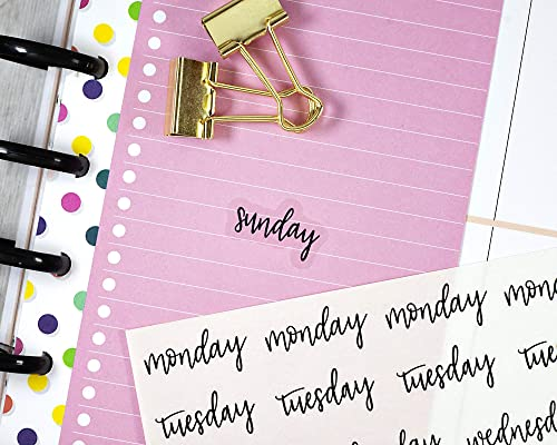 F5 #904-236-001L-C CLEAR Day of the Week Header Planner Stickers Planning Stickers Black on Clear Transparent Planning Stickers