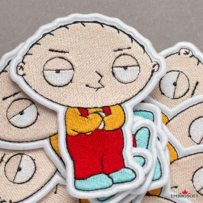 "Toppa ricamata con scritta in inglese /""Family Guy Stewie Griffin Cartoon Comics"