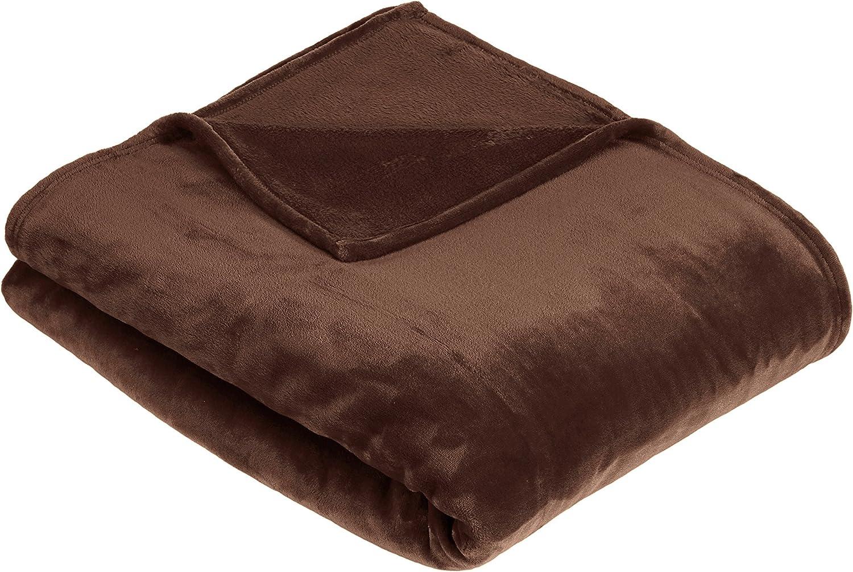 AmazonBasics - Manta, hecha de suave felpa - 229 x 229cm - marrón chocolate