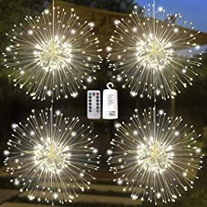 Joiedomi 120LED Hanging Fairy Lights (Warm White) 4 Pack, Waterproof for Christmas, Home, Party, Wedding, Garden, Xmas Garden Patio Bedroom Decor Indoor Outdoor Decor