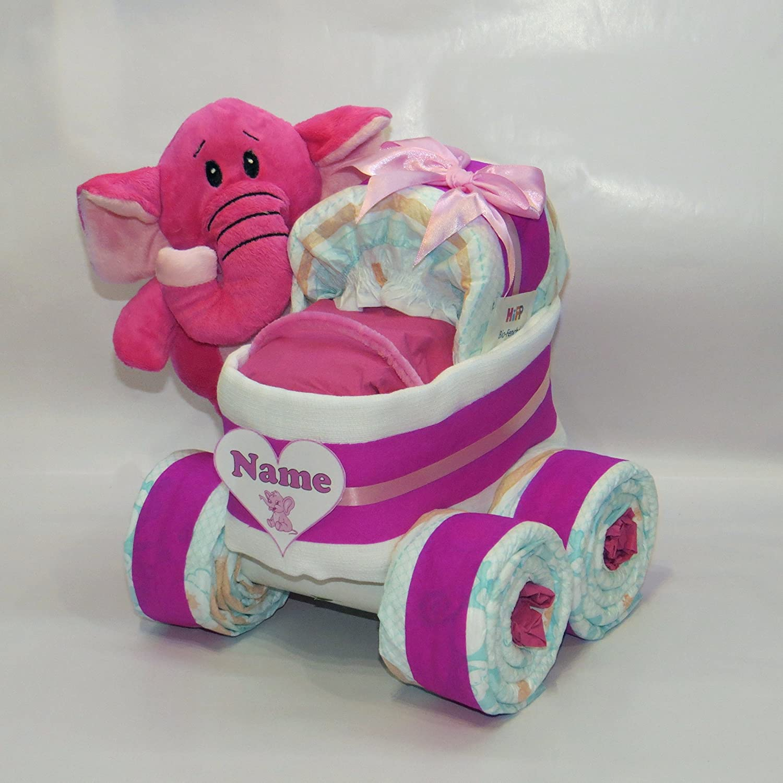 Windelkinderwagen XL-Reifen Herz Elefant pink Windeltorte
