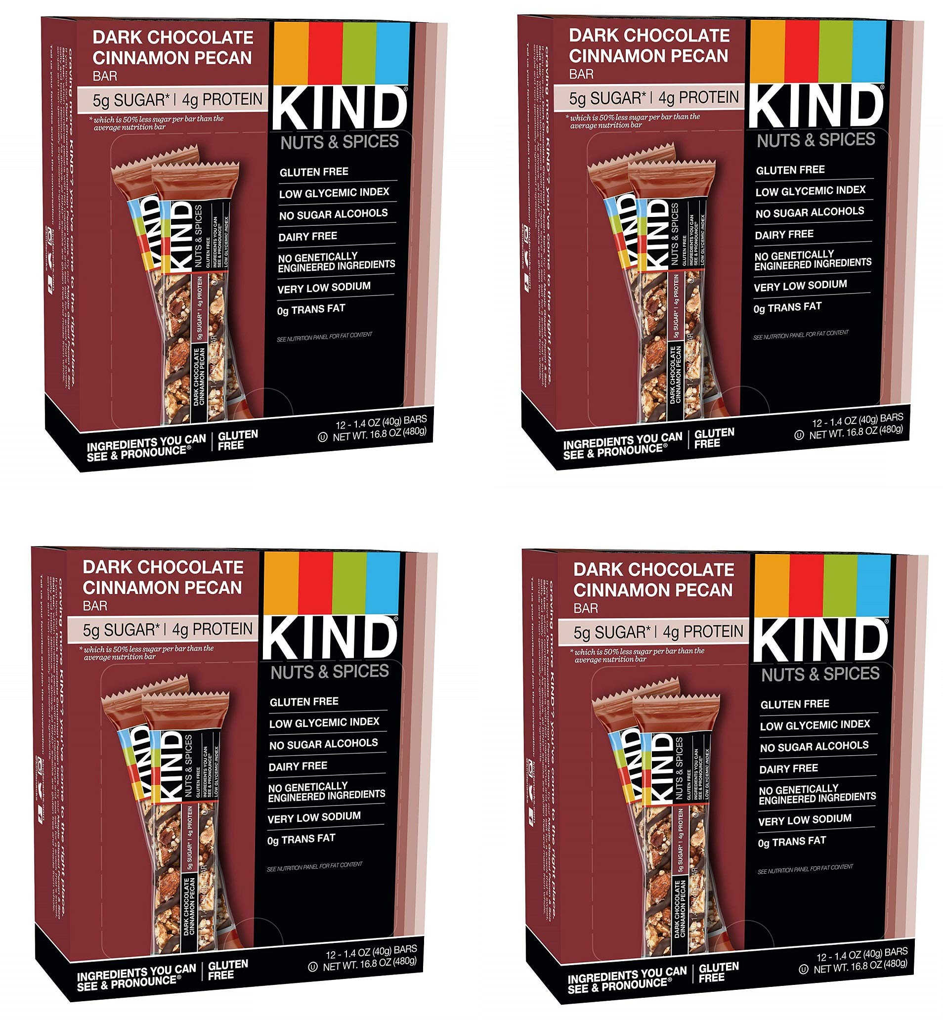 KIND Bars, Dark Chocolate Cinnamon Pecan, Gluten Free, Low Sugar, 1.4oz, 48 Bars