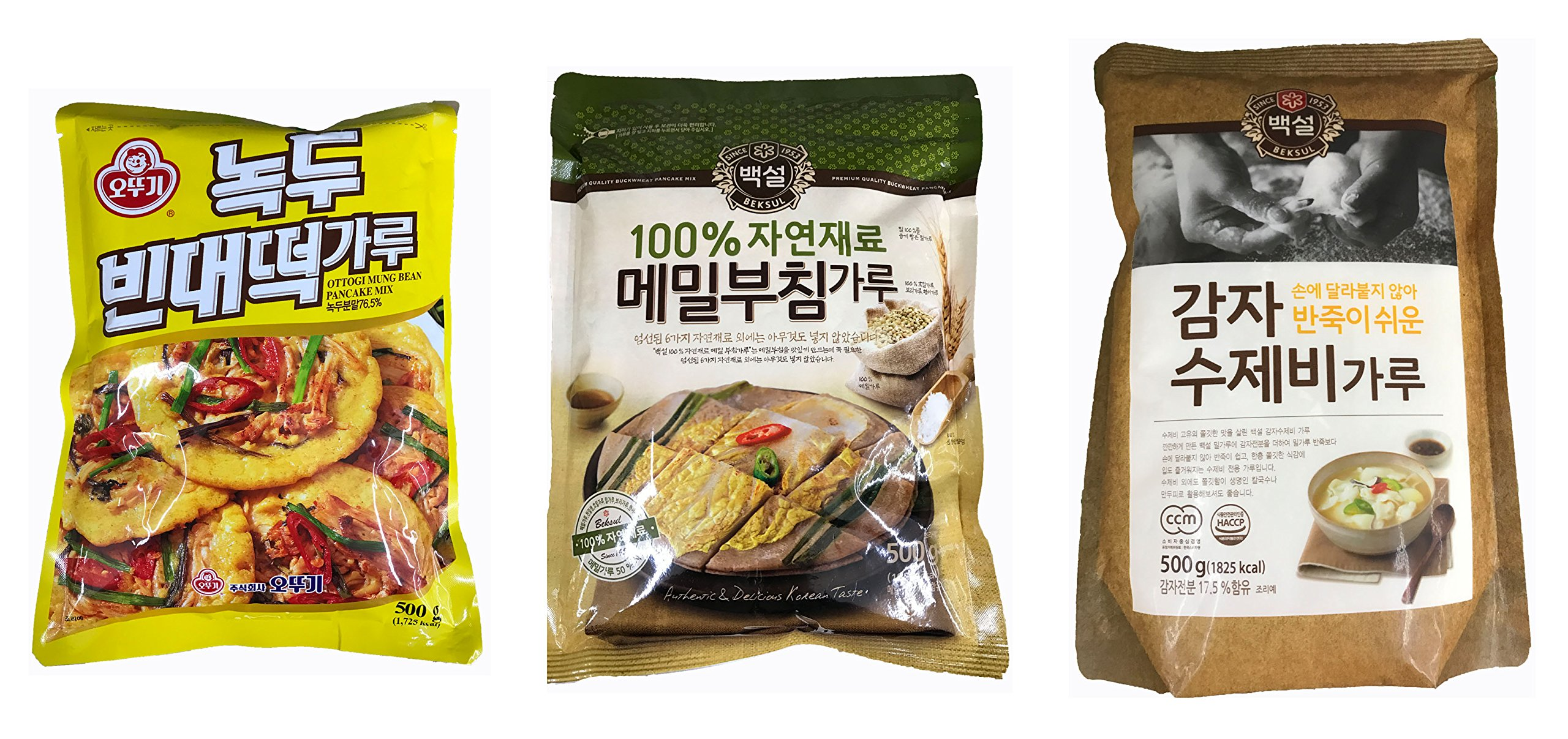 Korean Natural Pancake Flour Mix; Mung Bean(Nokdu) 500g + Buckwheat(Memil) Pancakes Mix 500g(1.1 pounds) + Potato Starch Flour Mix(500g)