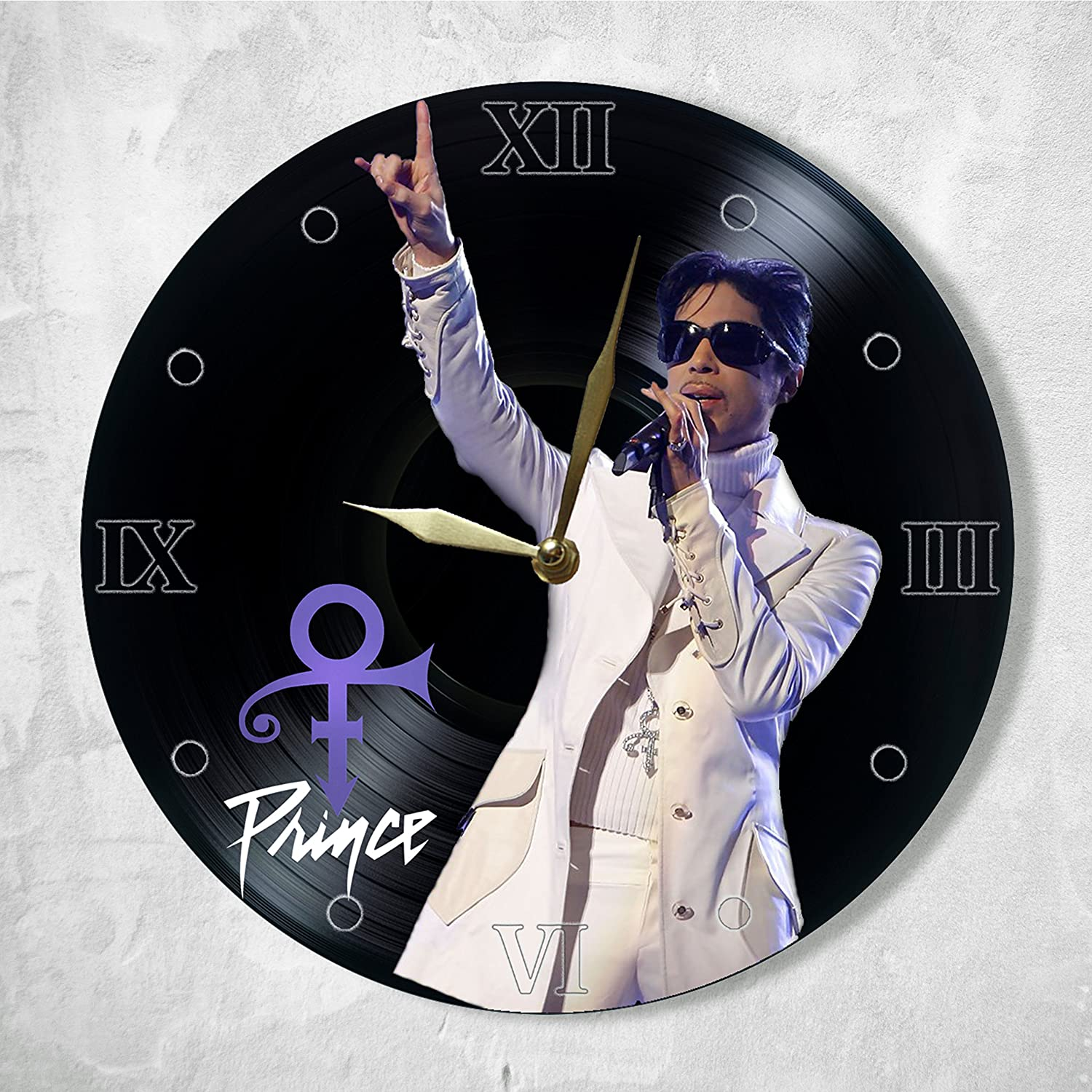 Prince Vinyl Clock Painted - Prince Wall Clock Vinyl - Best Gift for Music Lover - Original Wall Home Decor