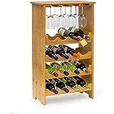 Relaxdays - Cantinetta per Vino in Bambù 84 X 50 X 24 cm, per 16 Bottiglie e 12 Calici