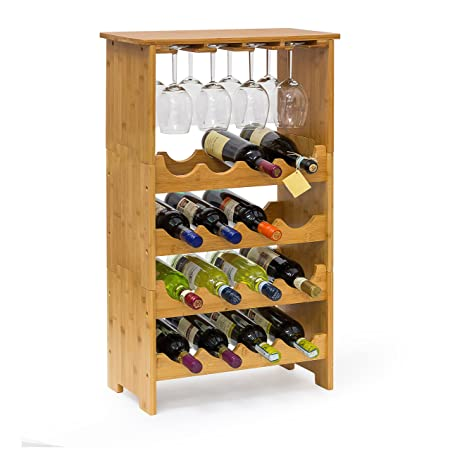 Relaxdays Bamboo Wine Rack 84 X 50 X 24 Cm Bottle Holder With Wine Glass  Holder