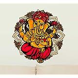 Decals Design 'Lord Ganesha Motif Colourful' Wall Sticker (PVC Vinyl, 60 cm x 60 cm),Multicolour