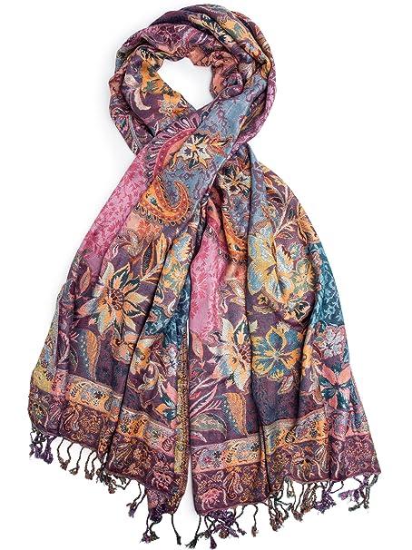 foto ufficiali dbf54 a5448 Bohomonde, Bethshaya Cashmere Silk Pashmina Shawl Scarf, Indian Floral  Paisley Hand Made in Nepal