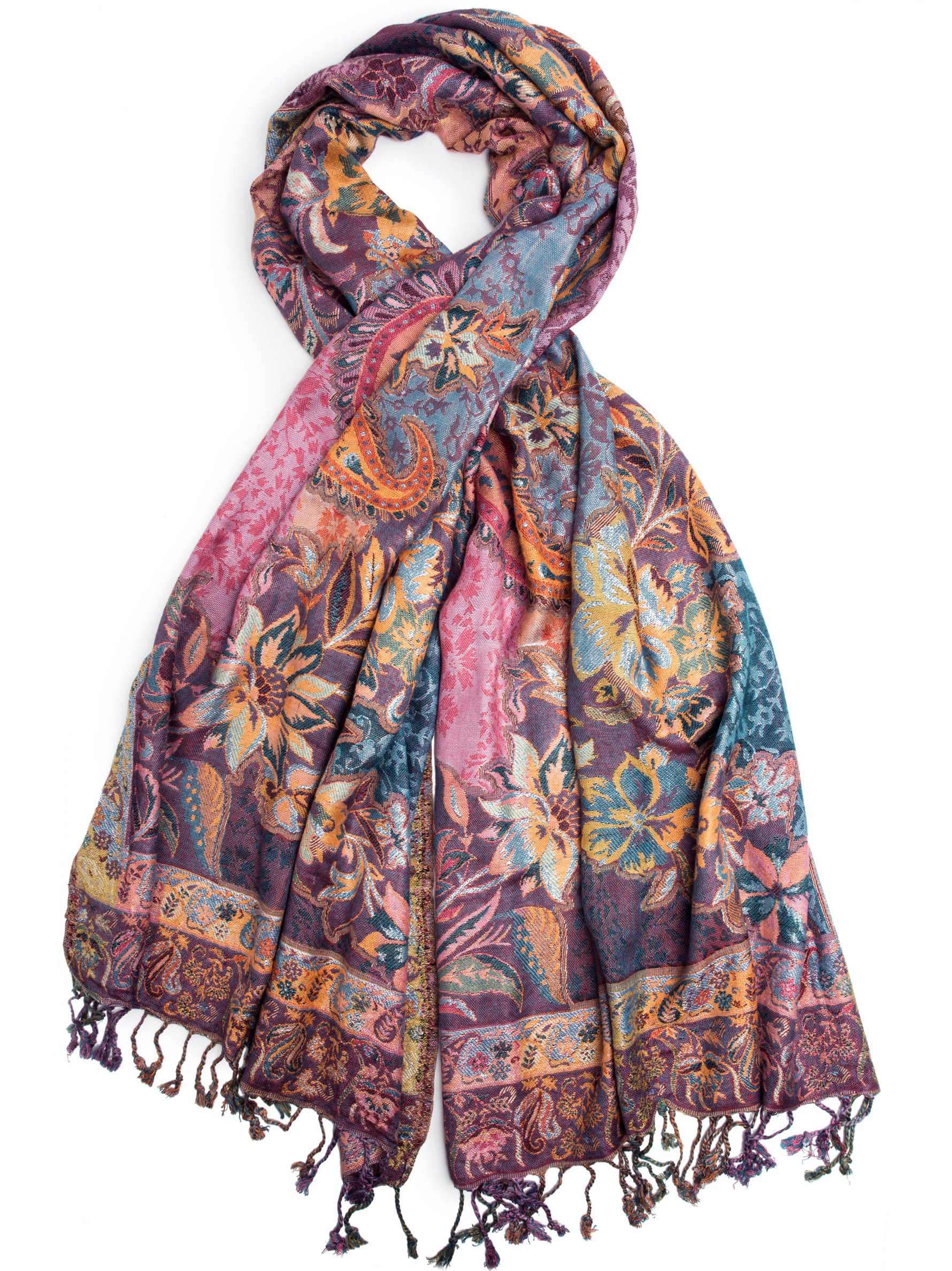 Bohomonde, Bethshaya Reversible Cashmere Silk Pashmina Scarf, hand made in India (Purple/Magenta/Orange)