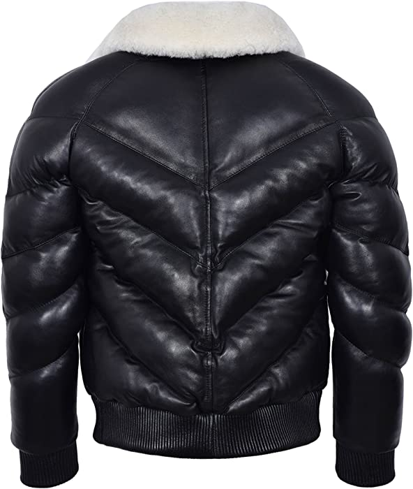 e79ee3b2f ACE Men's Puffer Real Leather Jacket Black with White Real Sheep ...