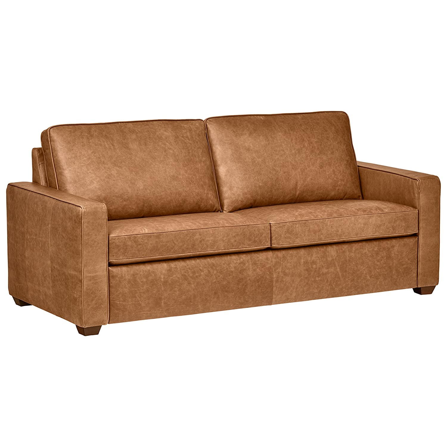 Amazon com rivet andrews modern classic top grain leather sofa 82 w cognac kitchen dining