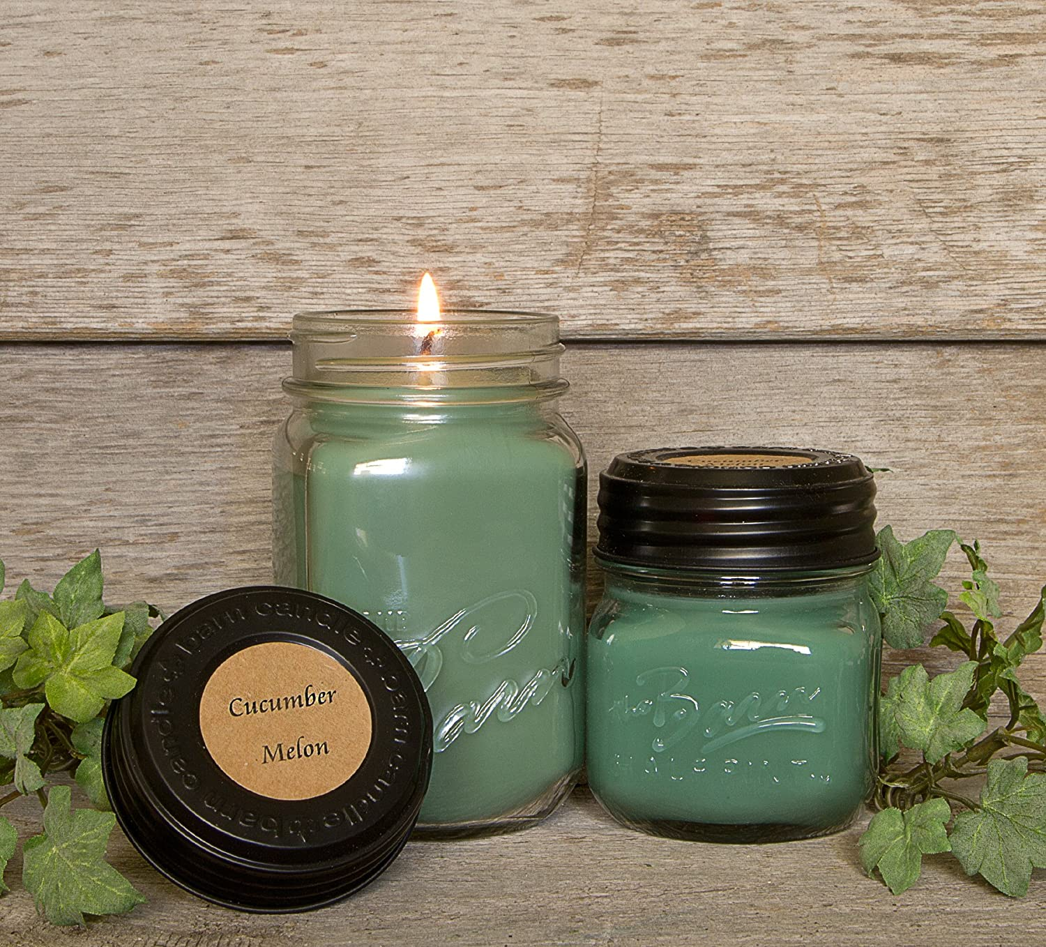 The Barn Candle Company Eco Friendly, Hand Poured, Soy Blend Wax Cucumber Melon 8 Oz. Candle
