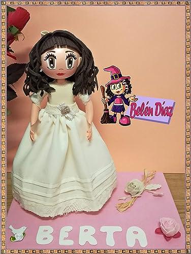 68a95e85db9 Fofucha de primera Comunión niña vestido Rosa Clará  Amazon.es  Handmade