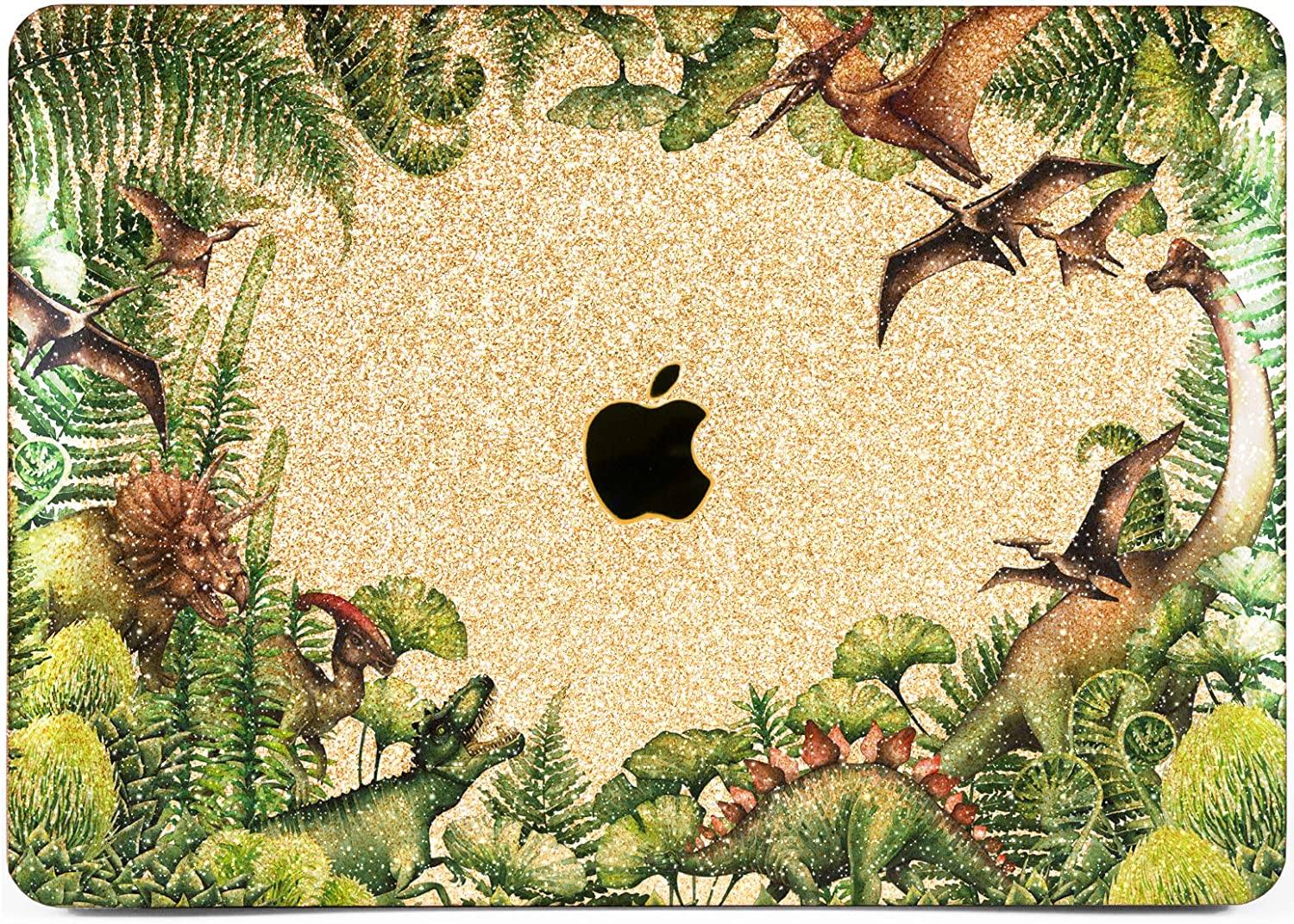 """Cavka Hard Glitter Case for Apple MacBook Pro 13"""" 2019 Retina 15"""" Mac Air 11"""" Mac 12"""" Bling Print Fern Dinosaurs Forest Shiny Sparkly Leaves Animal Tropical Cover Glossy Design Silver Rose Gold Green"""