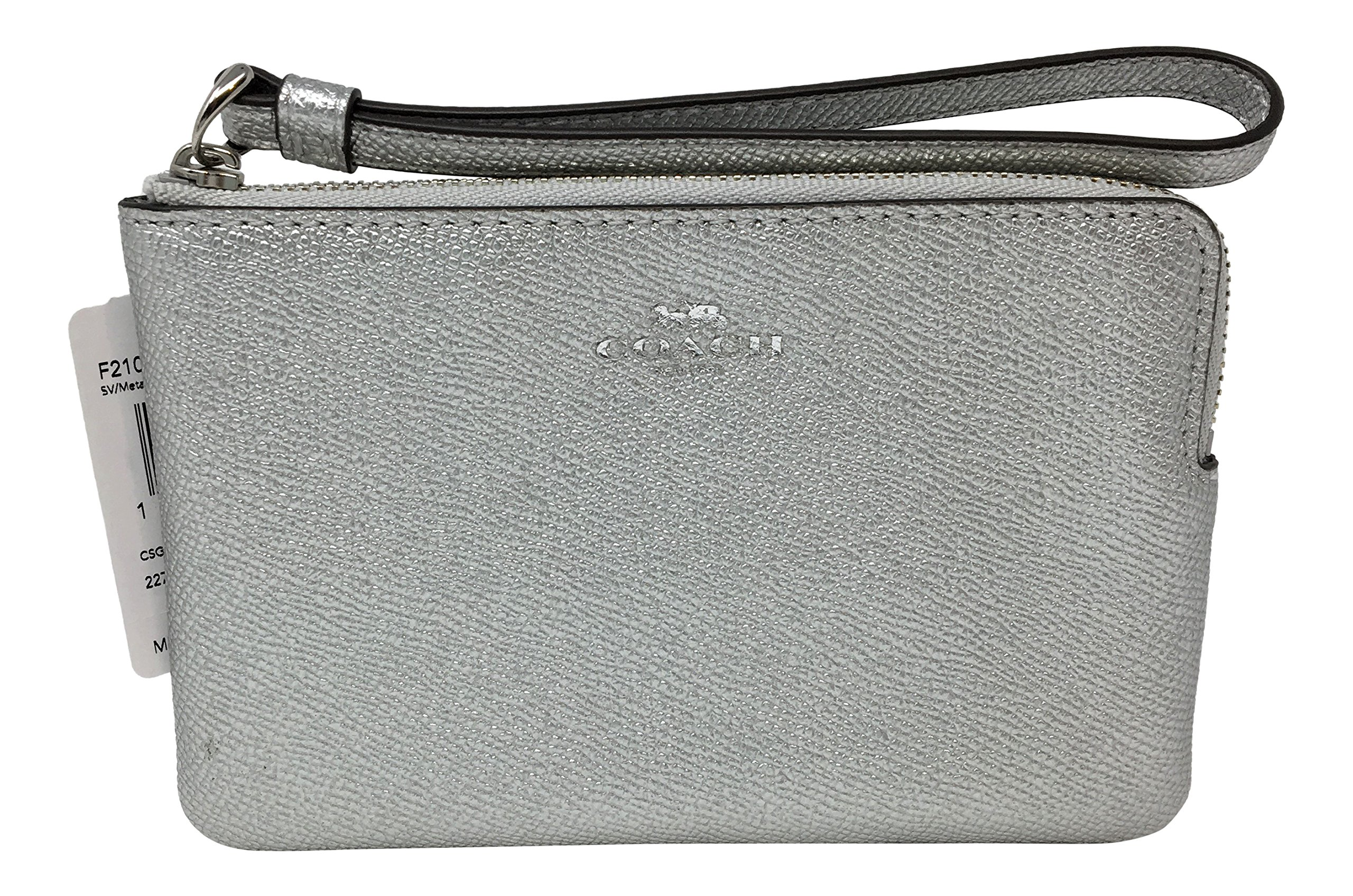 Coach Crossgrain Leather Metallic Corner Zip Wristlet Silver F21070
