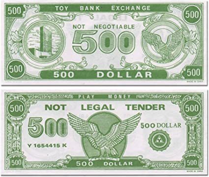 image regarding Toy Money Printable identify Paper Engage in Financial (1000 $500 Costs For every Offer)