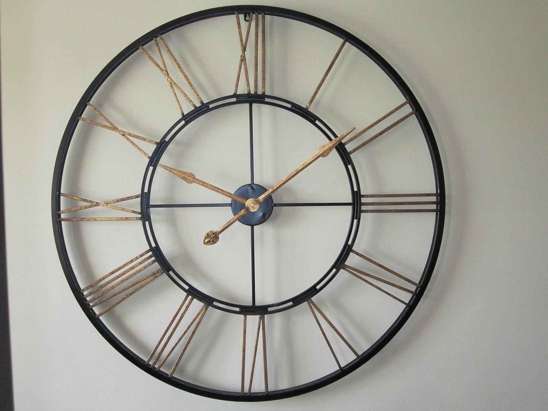 Large skeleton wall clock iron finish amazon kitchen home amipublicfo Gallery