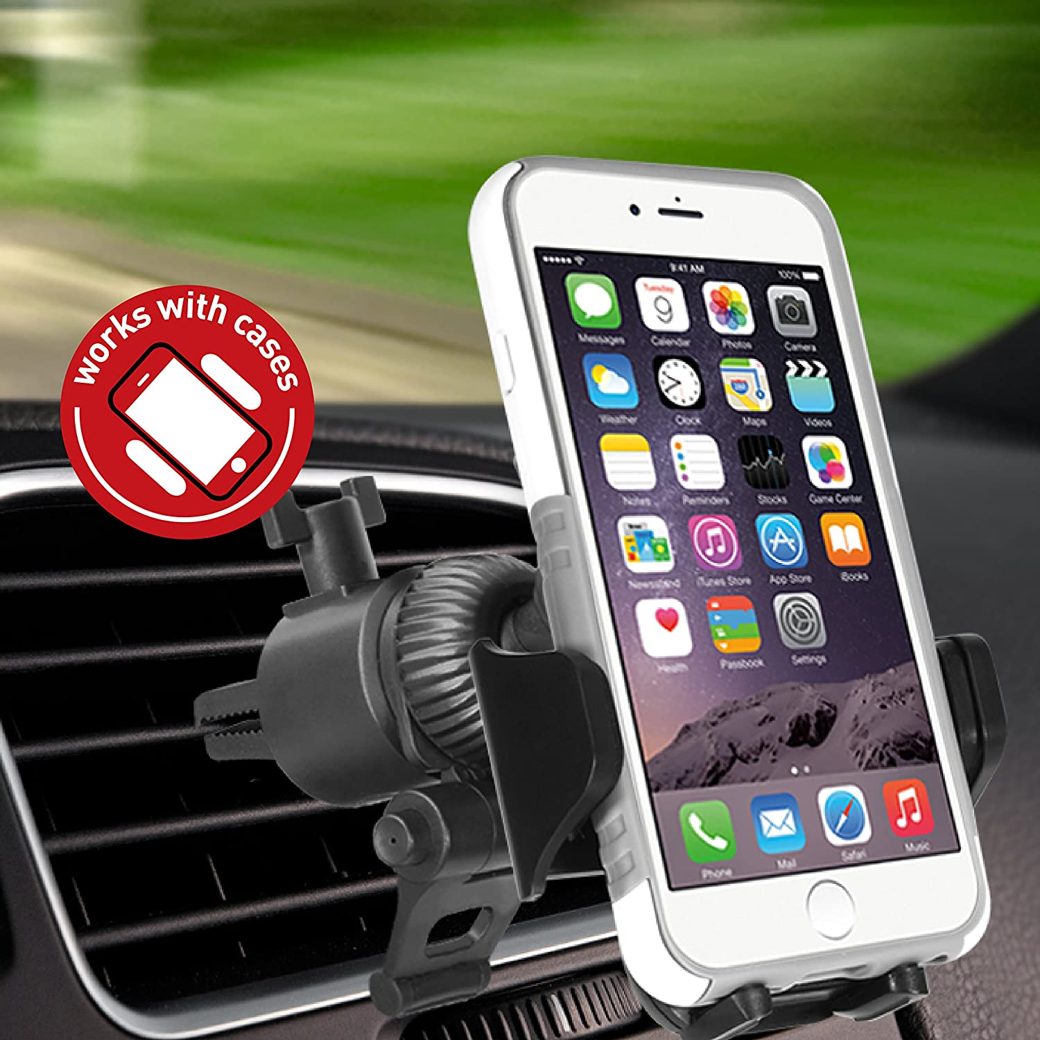 SE 6s 6 Samsung Galaxy S9 S9 Macally Universal Car Air Vent Phone Holder Mount with Super Strong AC Clip for Apple iPhone Xs XS Max XR X 8 8 Plus 7 7 S8 LG Nexus Sony Nokia Moto Mobile Cell Phones Mace Group Inc Macally Peripherals MVENTMOUNT