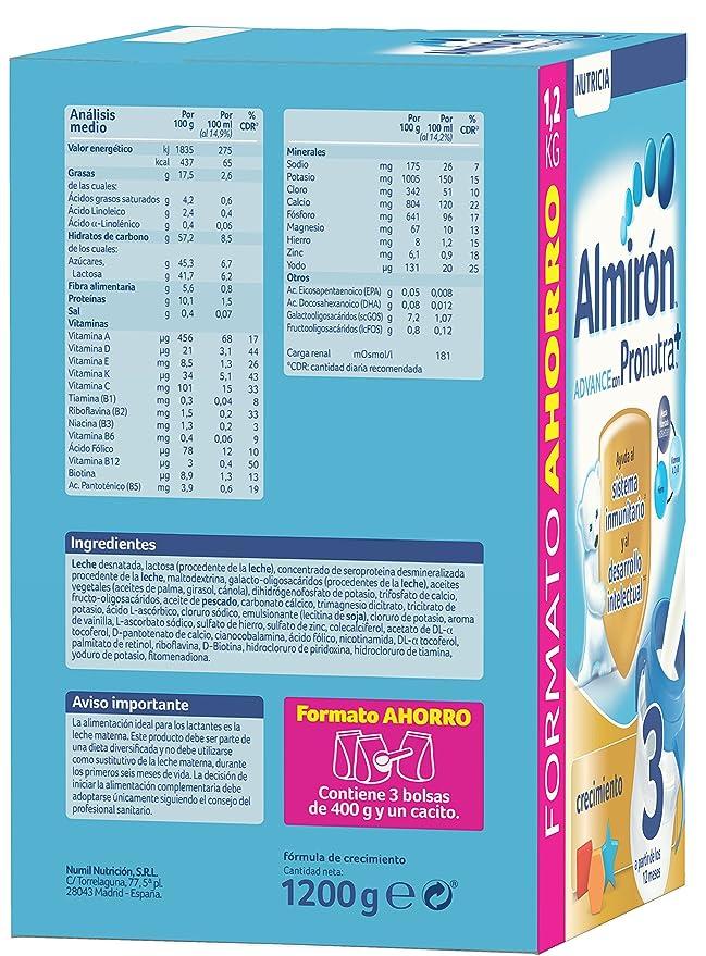 Almiron Advance 3 Crecimiento Leche En Polvo - 1200 g: Amazon.es: Amazon Pantry