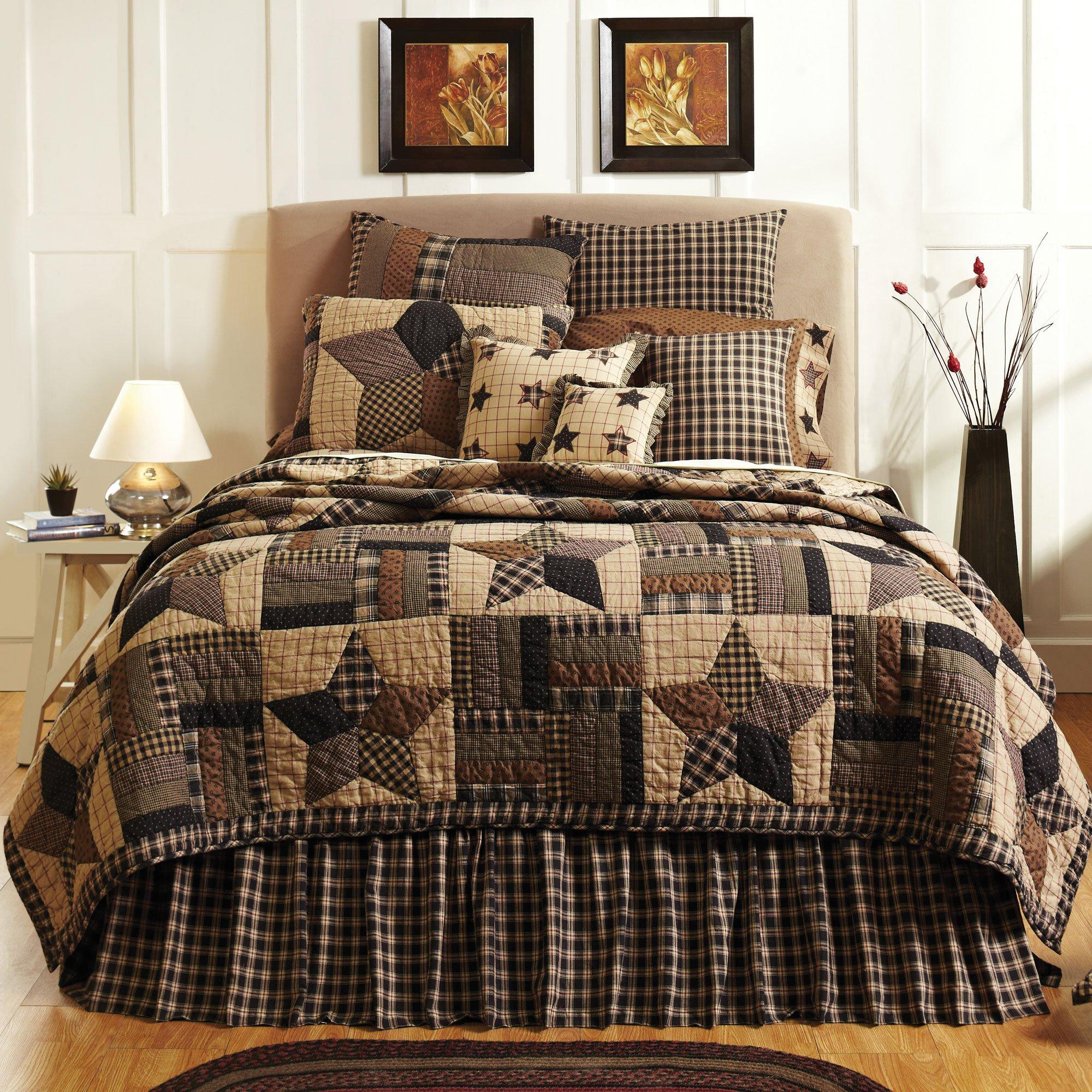 Bingham Star Queen Quilt Bundle - 5 Pc Set. Set Contents: 1 Queen Quilt (94 x 94), 2 Queen Shams (21 x 27), 1 Queen Bed Skirt (80 x 60), 1 Pillow 1 (16 x 16)