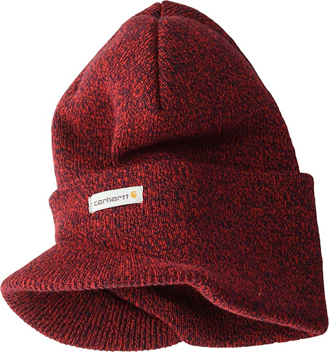Mens Red with black threads Carhartt billed beanie