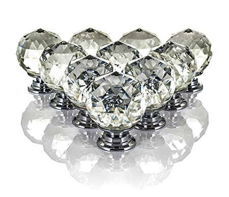 LIVIVO Pack Of 10 Round Crystal Drawer Knobs With Chrome Base Suitable  Replacement Handle For