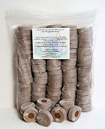 Coco Coir Grow Pellets/Grow Media 42 mm (1 65 in) - Value Pack Sizes (100)  - NOT Jiffy-7 - Coco Coir not Coco Peat