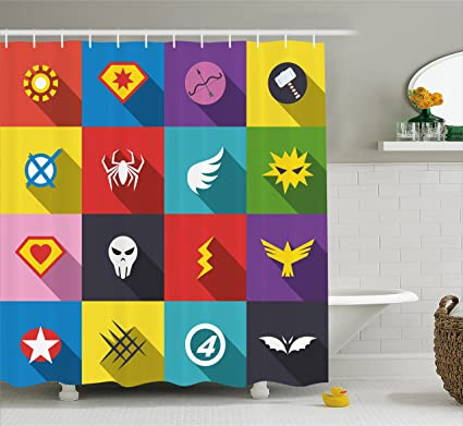 Ambesonne Superhero Shower Curtain Retro Badge Patchwork Style Several Logo Signs Comic Humor Artwork
