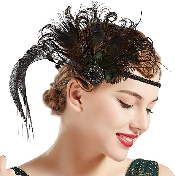 1920s Flapper Headband, Gatsby Headpiece, Wigs ArtiDeco 1920s Headpiece Vintage 1920s Flapper Headband Peacock Feather Crystal Beaded Headband Great Gatsby Costume Accessories Roaring 20s Accessories ( £13.99 AT vintagedancer.com