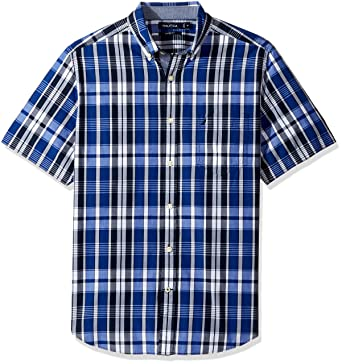 4626dcac Amazon.com: Nautica Big and Tall Short Sleeve Classic Fit Plaid Button Down  Shirt: Clothing