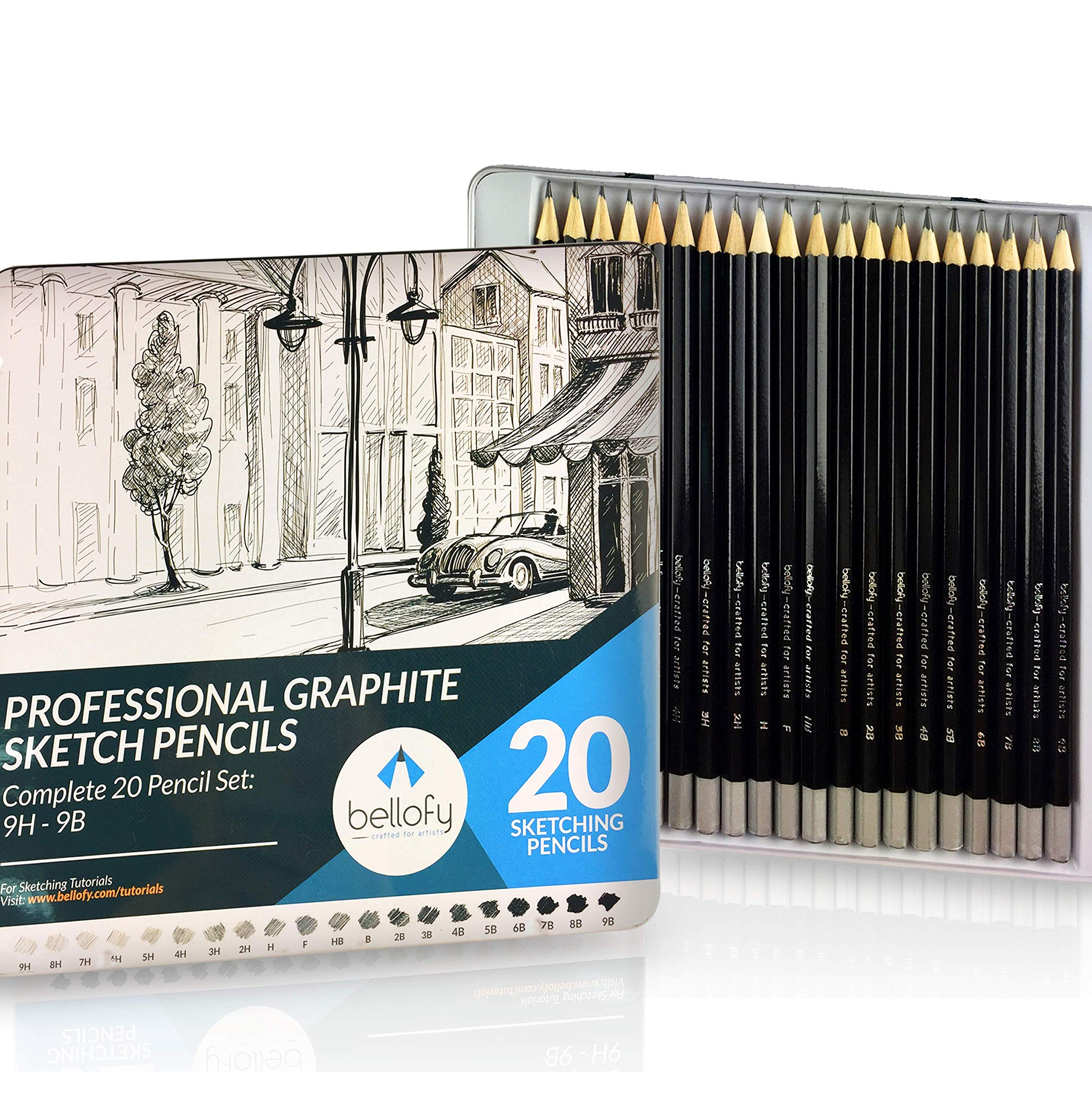 Bellofy 20 Sketching Pencils - Complete Professional Graphite Pencil Set for Sketch Drawing - 9B to 9H Art Travel Set for Adults and Kids - Shading Pencils, Drawing and Art Supplies, Sketching Set by Bellofy