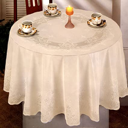 Bon Tablecloth, Vinyl Lace With Full Vinyl Backing, Easy Care (60 Inches Round,