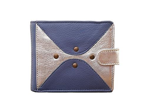 dafa7a83fbef Paul Marius LE PORTEFEUILLE LOUISE Bleu Lavande Argenté portefeuille femme  cuir de vachette pleine fleur