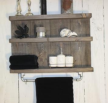 Holz Badregal mit Stange für Handtücher Shabby Vintage braun fertig ...