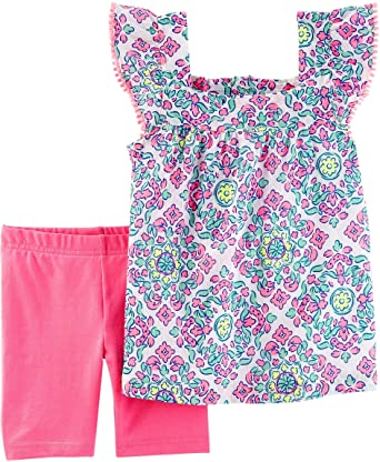 56f8a59c9 Carters Infant Girls Pink Pastel Baby Outfit Floral Shirt   Pink Shorts Set