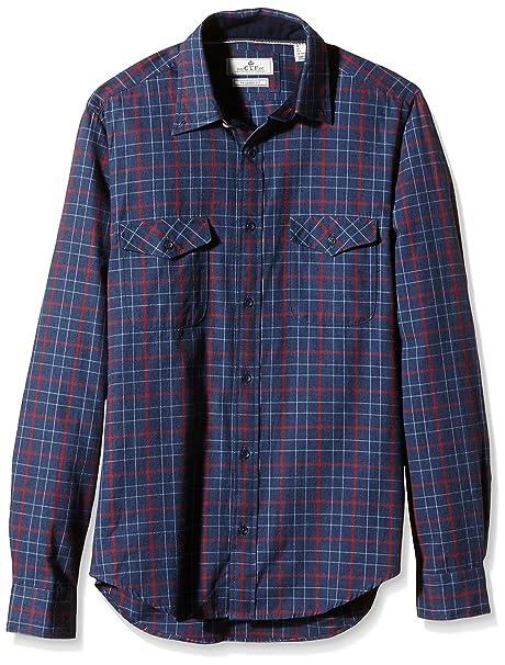 Cortefiel Franela Cuadros 2 BOLS T, Camisa para Hombre, Blues, S