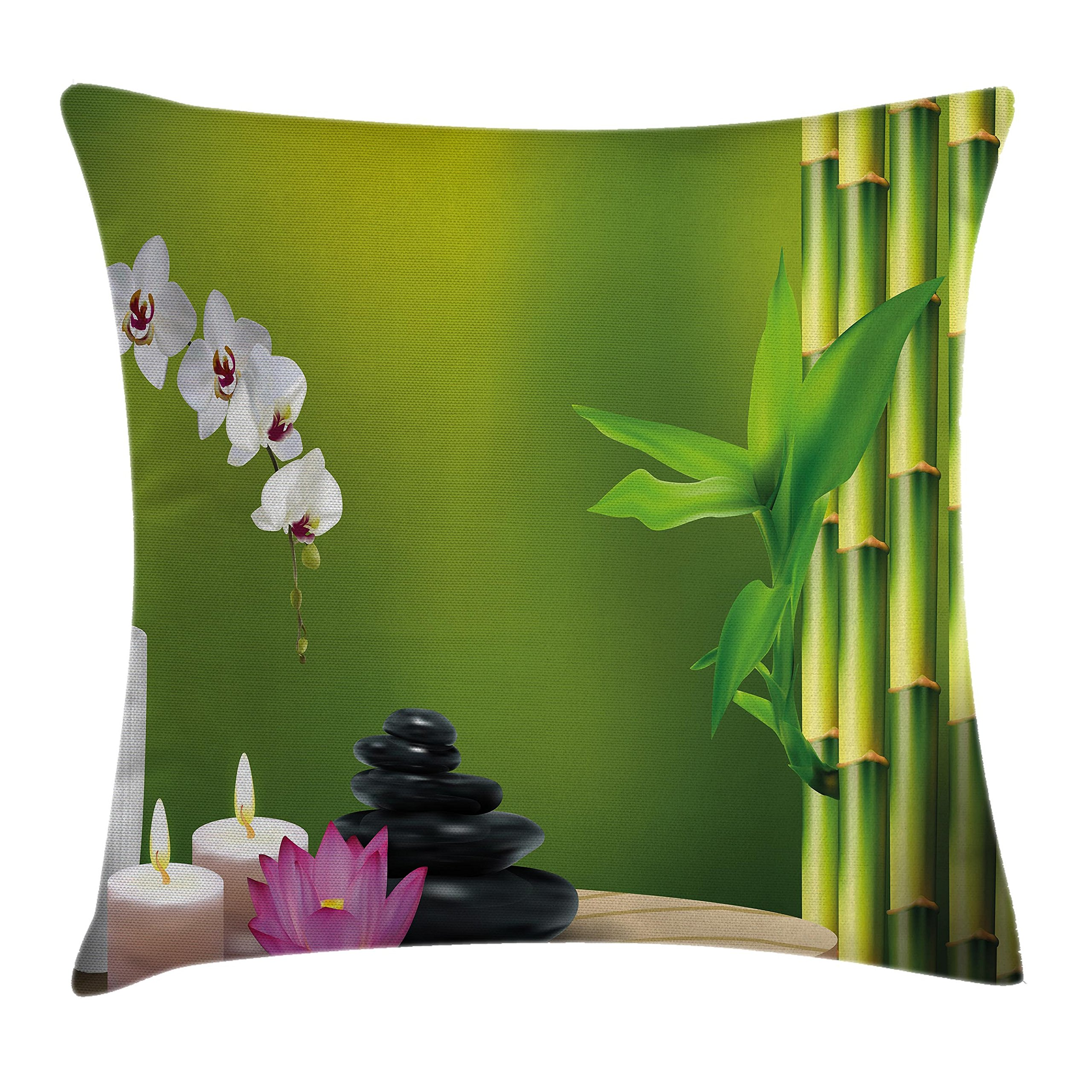 Ambesonne Spa Throw Pillow Cushion Cover, Bamboo Flower Stone Wax on The Table Orchid Rock Healthy Lifestyle Theme, Decorative Square Accent Pillow Case, 18 X 18 Inches, Fern Green Fuchsia White