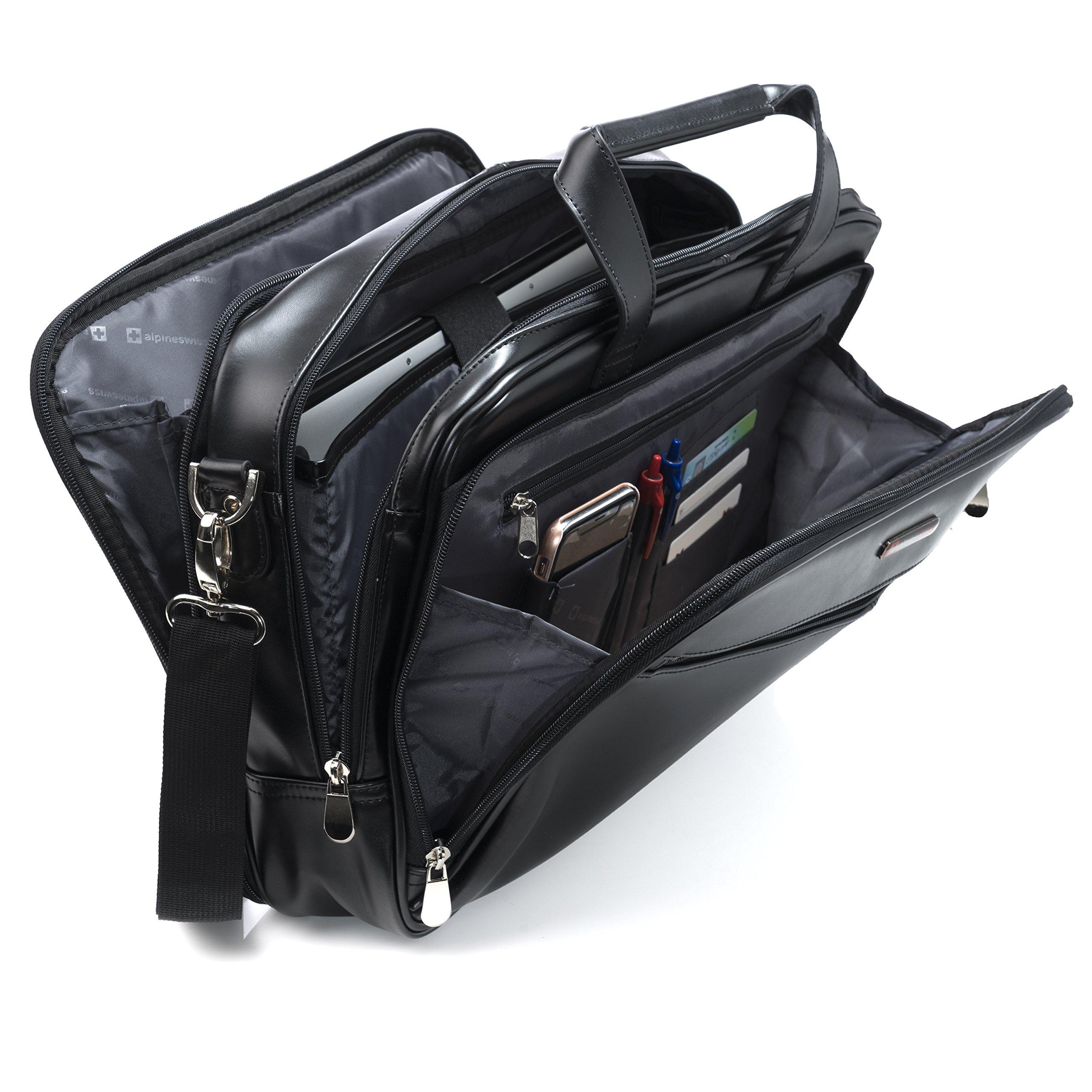 Alpine Swiss Monroe Leather Briefcase Top-Zip Laptop Messenger Bag Black by alpine swiss (Image #2)