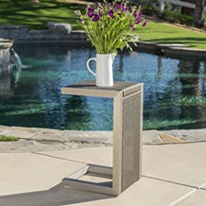 Christopher Knight Home 299998 Crested Bay Outdoor Grey Wicker C-Shaped End Table