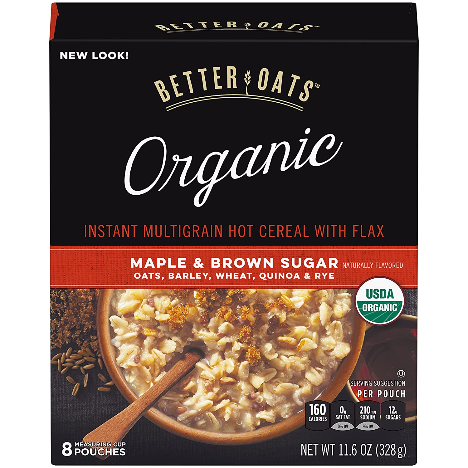 Better Oats, Organic Instant Oatmeal, Maple & Brown Sugar, 8 Ct