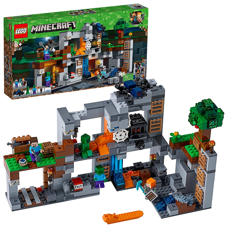 LEGO Minecraft Abenteuer in den Felsen (21147) Minecraft Minifiguren und Spielzeug fü r Kinder