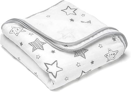 Manta para bebé estrellas - 120x120 cm, 100% algodón / Mantita suave minicuna - cochecito / Arrullo recien nacido, cambiador, manta envolvente de muselina - Blanca Gris